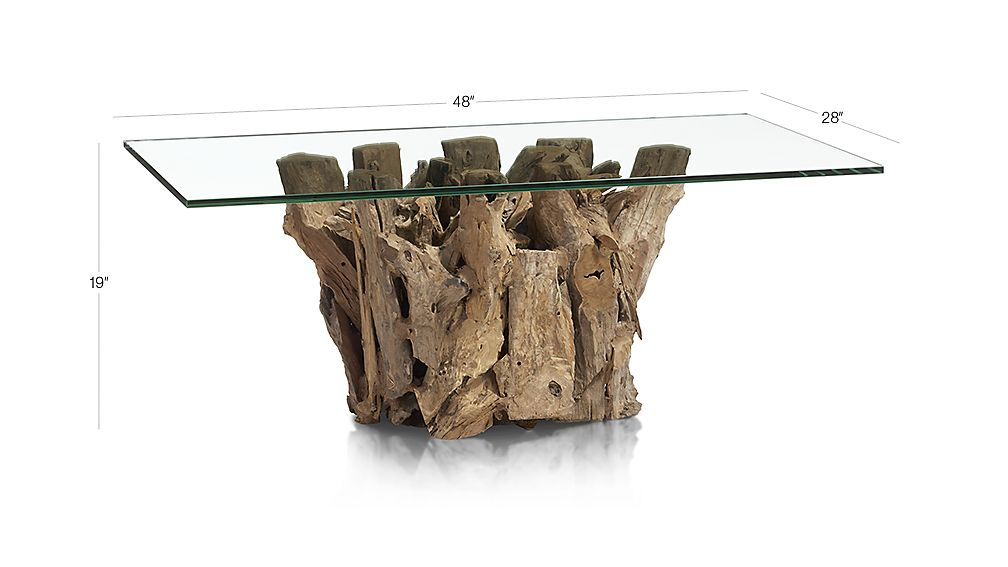driftwood coffee table with rectangular glass top   reviews