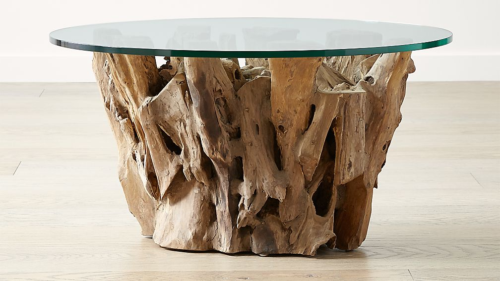 Driftwood Coffee Table With Round Glass Top Reviews Crate And Barrel