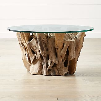 Driftwood Coffee Table With Round Glass Top