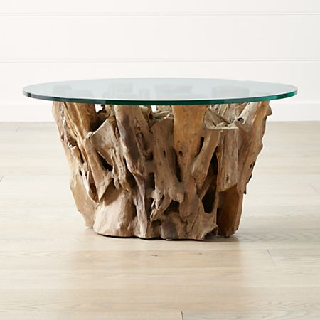 Driftwood Coffee Table.Driftwood Coffee Table With Round Glass Top