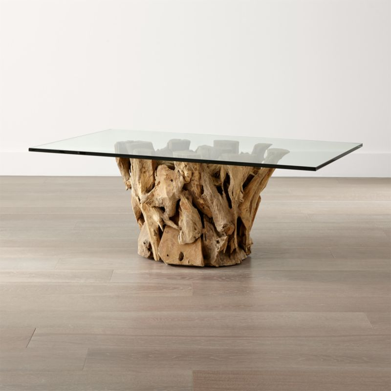 Driftwood Coffee Table With Rectangular Glass Top: Driftwood Coffee Table