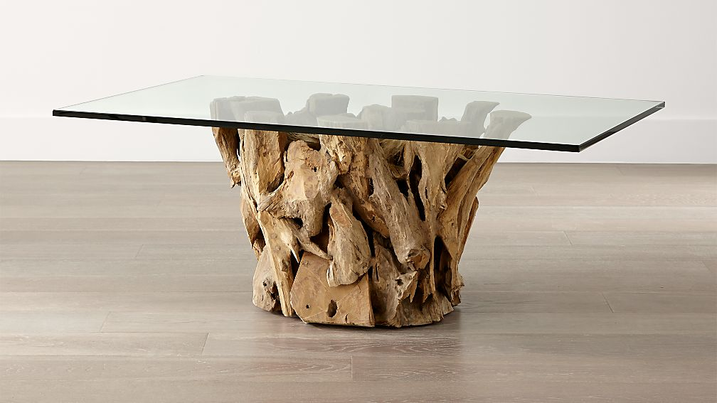 Driftwood Coffee Table With Rectangular Glass Top