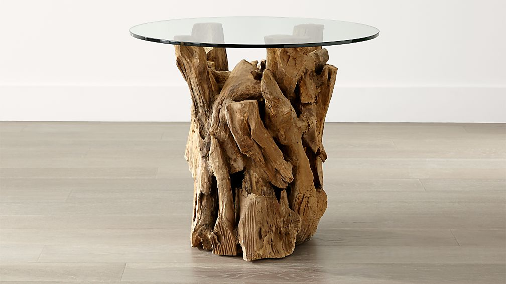 driftwood end table with round glass top reviews crate and barrel - Driftwood Coffee Tables For Sale