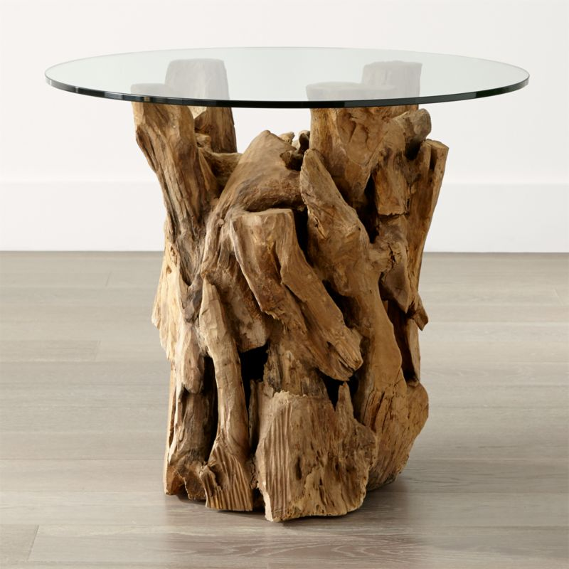 driftwood end table with round glass top   reviews