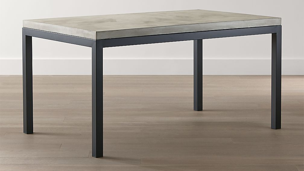 parsons concrete top/ dark steel base dining tables | crate and barrel
