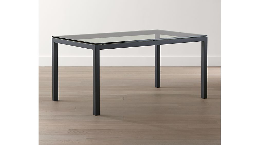 Parsons Clear Glass Top/ Dark Steel Base 48x28 High Dining Table
