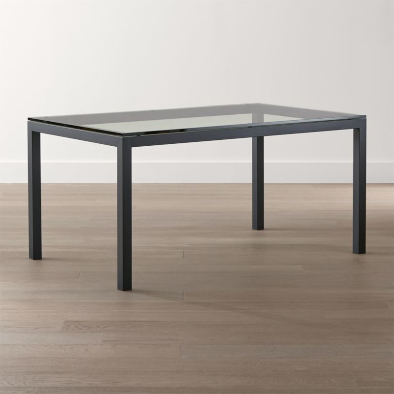 Parsons Clear Glass Top/ Dark Steel Base Dining Tables