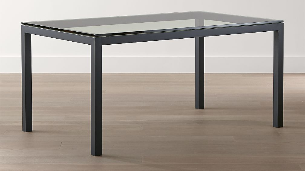 Parsons Clear Glass Top Dark Steel Base Dining Tables Crate And Barrel