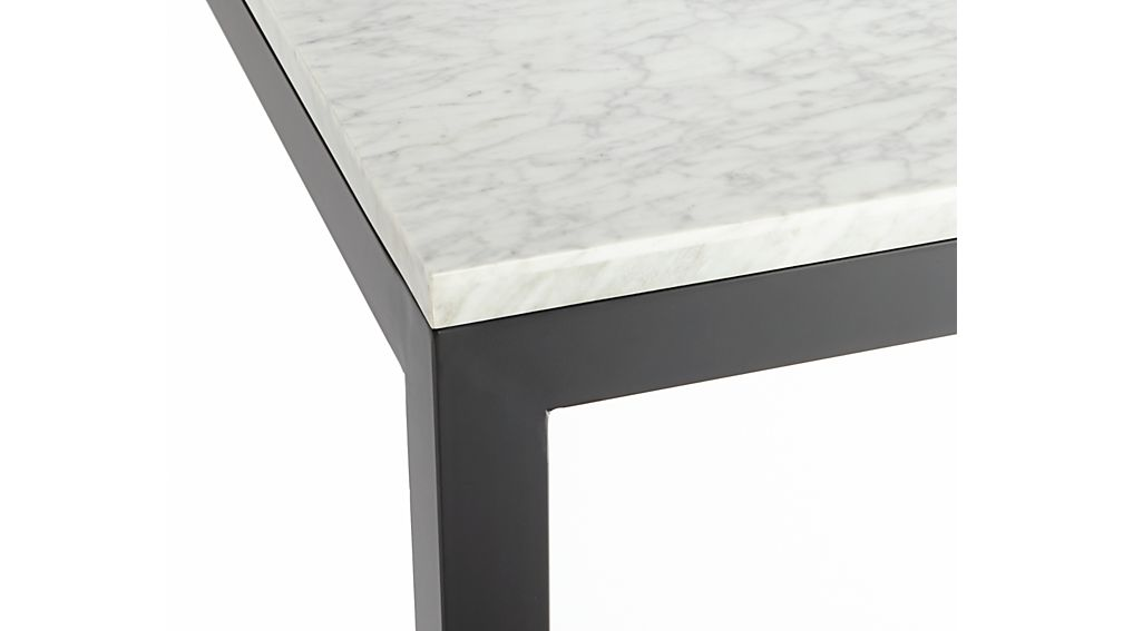 Parsons White Marble Top/ Dark Steel Base 60x36 Dining Table