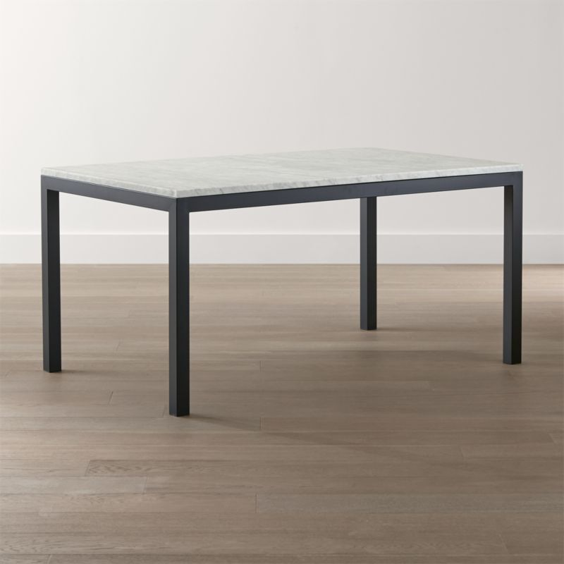parsons white marble top dark steel base dining tables
