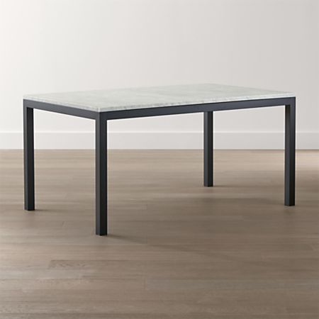 Parsons White Marble Top Dark Steel