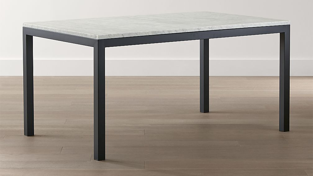 Parsons White Marble Top/ Dark Steel Base Dining Tables - Image 1 of 8