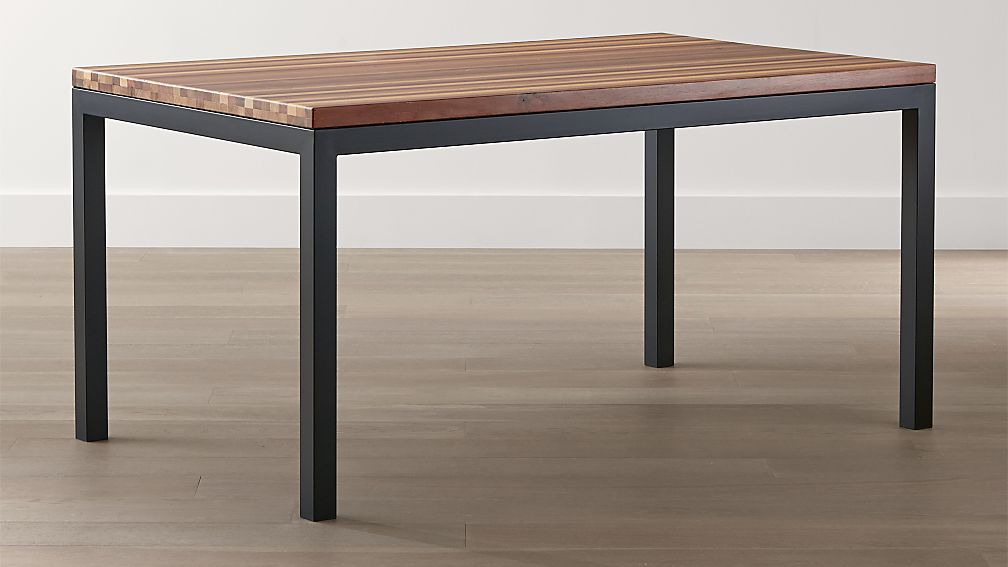 Parsons Reclaimed Wood Top Dark Steel Base Dining Tables