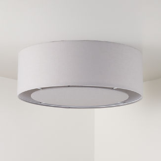 Light Grey Drum Shade Flushmount