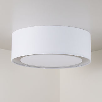 White Drum Shade Flushmount