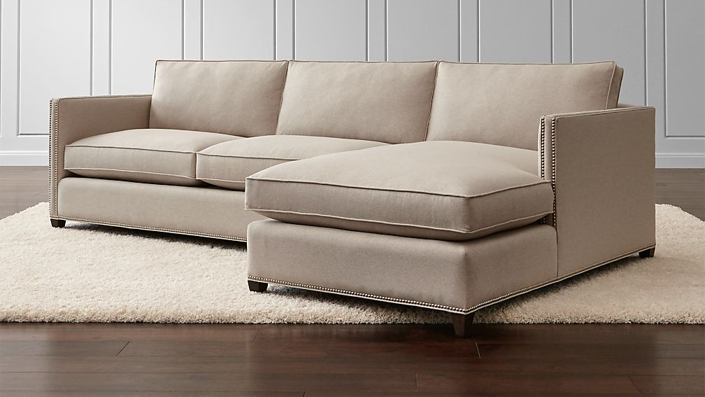 Dryden 2-Piece Sectional with Nailheads + Reviews | Crate and Barrel