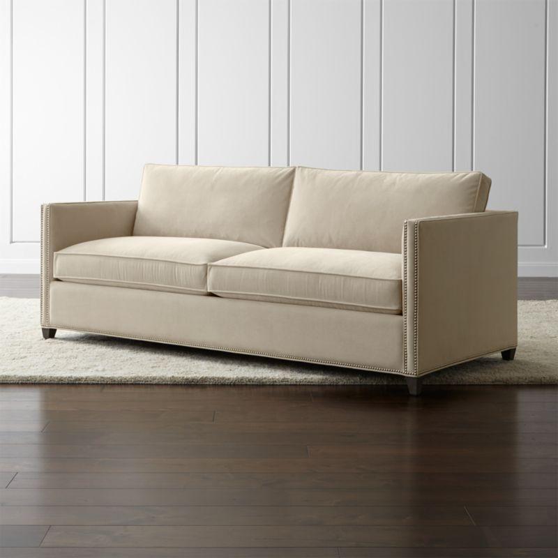 Dryden Queen Sleeper Sofa With Nailheads And Air Mattress Crate Barrel