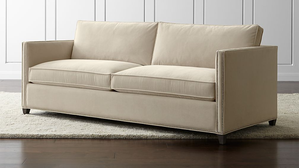 Dryden queen sleeper sofa with nailheads crate and barrel for Sofa bed 74 inches