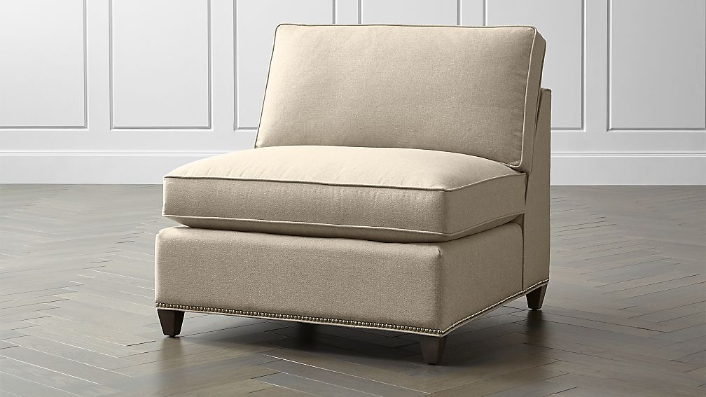 Dryden armless chair with nailheads crate and barrel for Crate and barrel armless chair