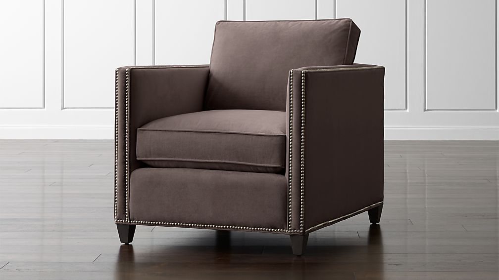 Grey Velvet Chair With Nailheads Reviews Crate And Barrel