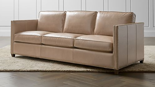 Dryden Leather 3 Seat Queen Sleeper Sofa With Nailheads