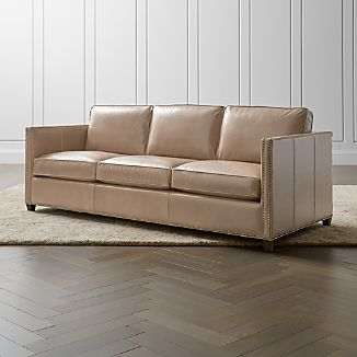 Beautiful Dryden Leather 3 Seat Queen Sleeper Sofa With Nailheads