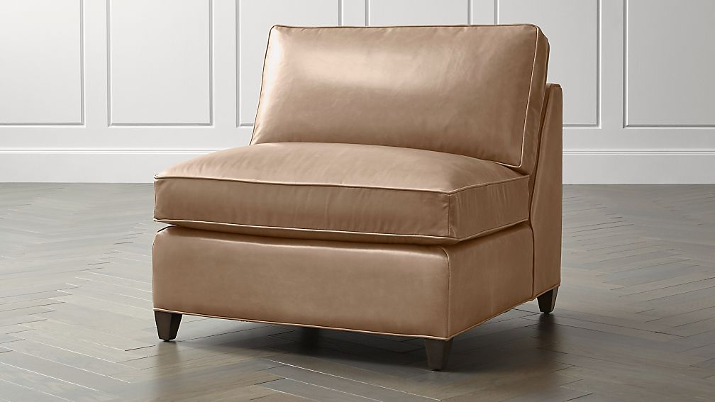 Dryden leather armless chair crate and barrel for Crate and barrel armless chair