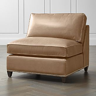 Dryden Leather Armless Chair with Nailheads