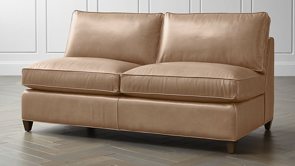 Dryden Leather Armless Loveseat Crate And Barrel