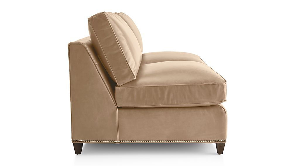 Dryden Leather Armless Loveseat with Nailheads