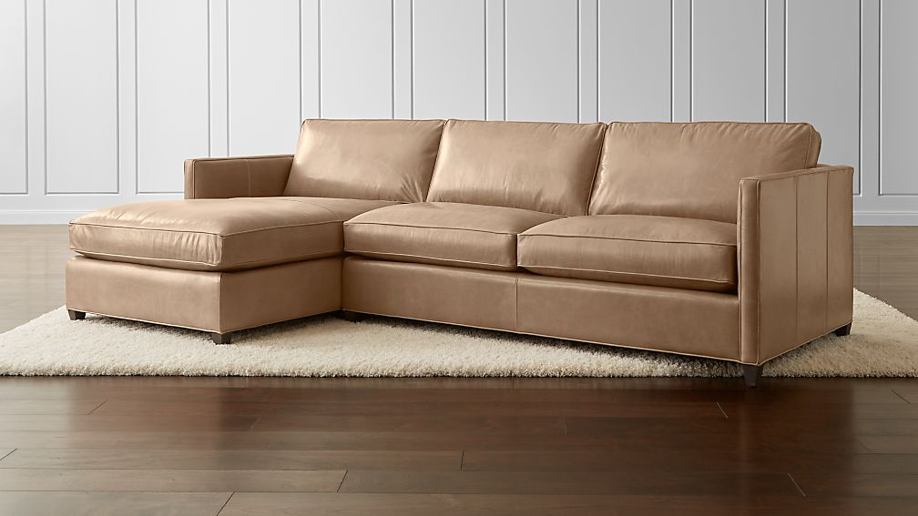 Dryden Leather 2 Piece Left Arm Chaise Sectional Reviews Crate And Barrel