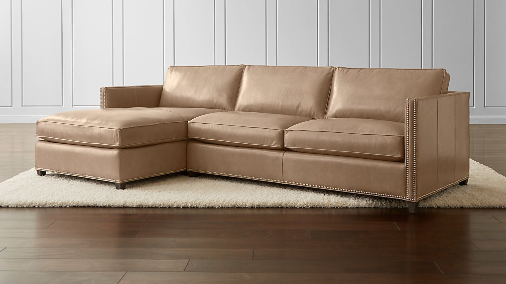 Dryden 2-Piece Leather Sectional with Nailheads ... : nailhead sectional - Sectionals, Sofas & Couches