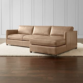 Dryden Leather 2-Piece Right Arm Chaise Sectional