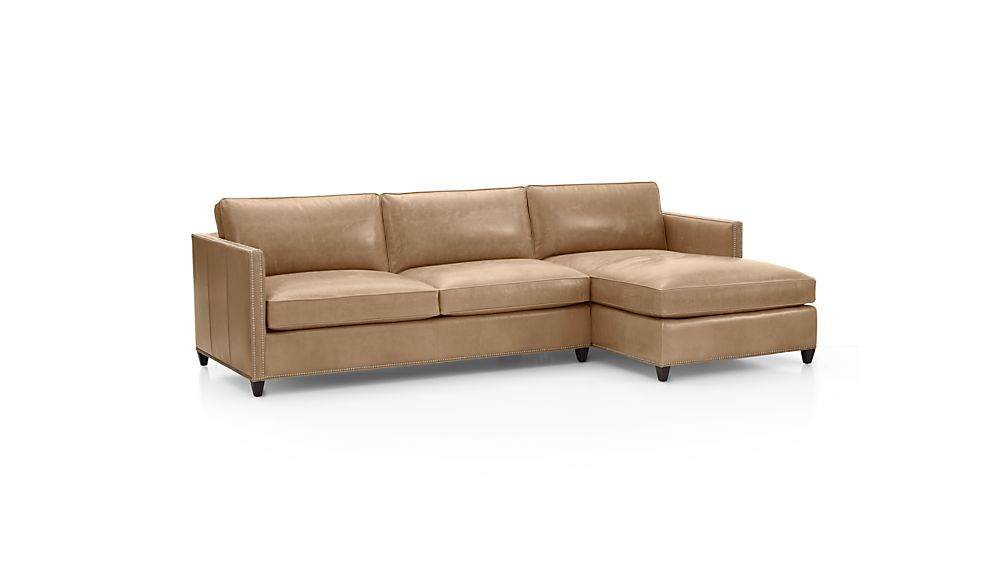 Dryden Leather 2-Piece Sectional with Nailheads