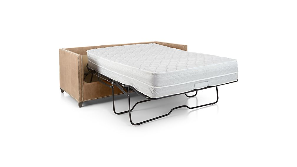 Dryden Leather Full Sleeper with Nailheads and Air Mattress