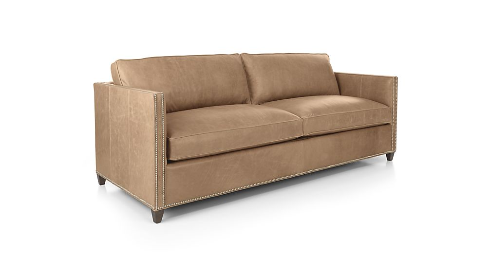 Dryden Leather Queen Sleeper Sofa with Nailheads