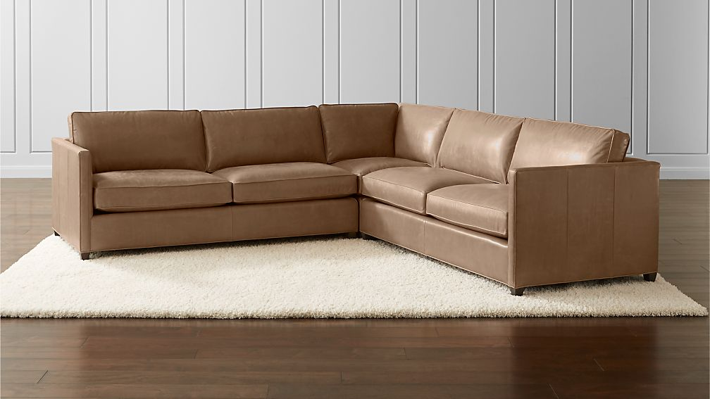 Dryden Leather 3 Piece Sectional Reviews Crate And Barrel