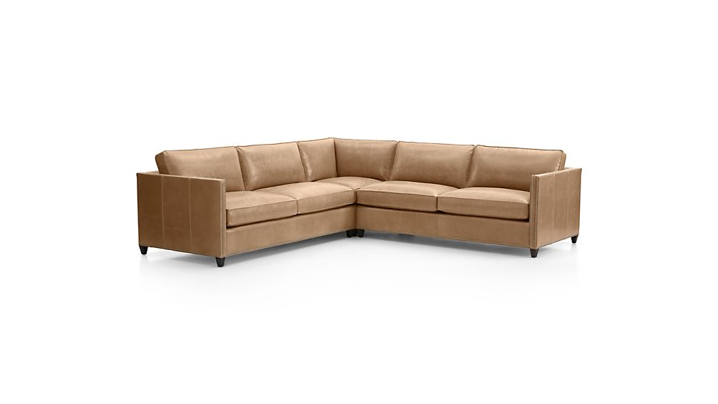 Dryden Leather 3-Piece Sectional with Nailheads