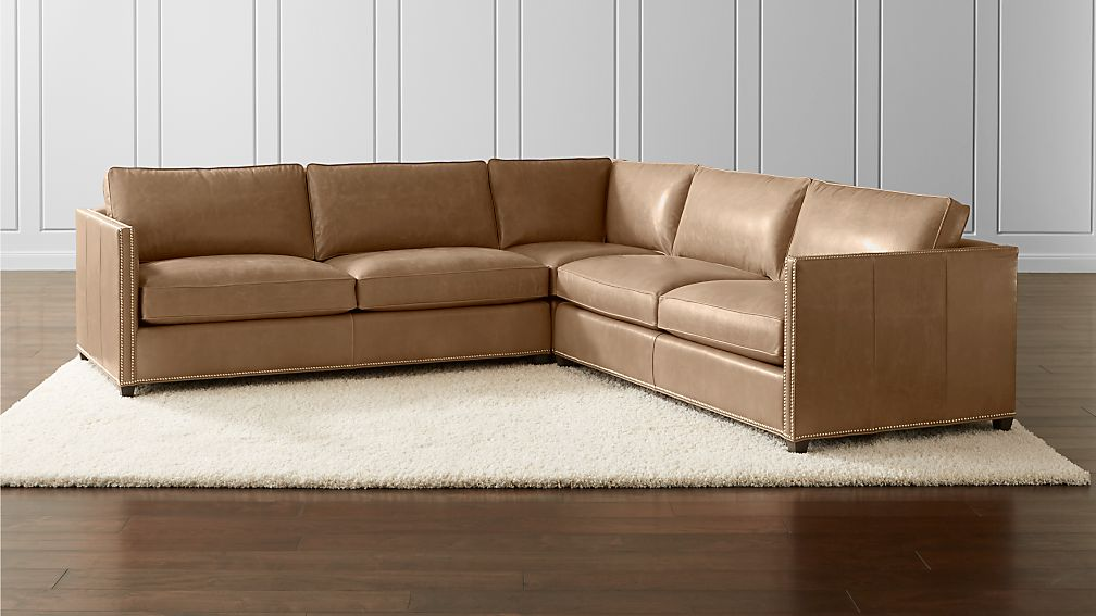 Dryden Leather 3 Piece Sectional With Nailheads Libby Mushroom Crate And Barrel