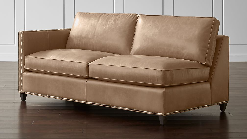 Dryden Leather Left Arm Apartment Sofa with Nailheads + Reviews ...