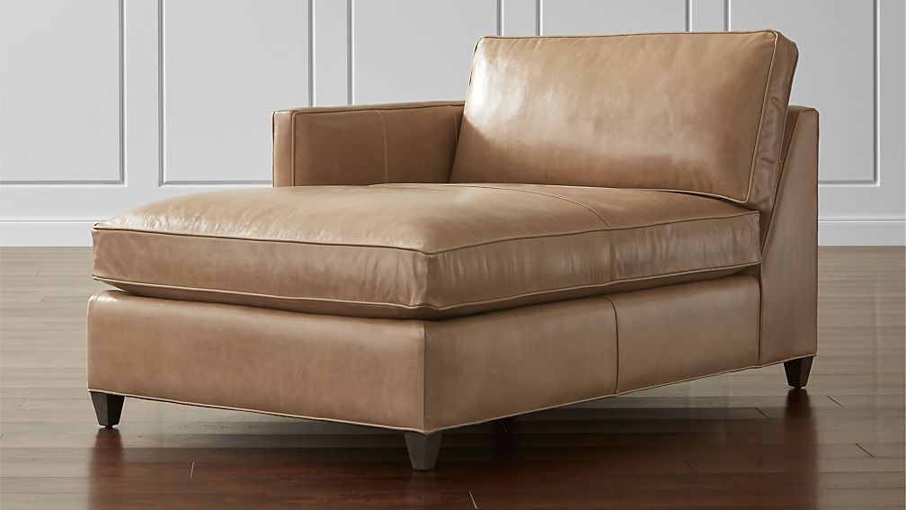 Dryden leather left arm chaise lounge crate and barrel for Armed chaise lounge
