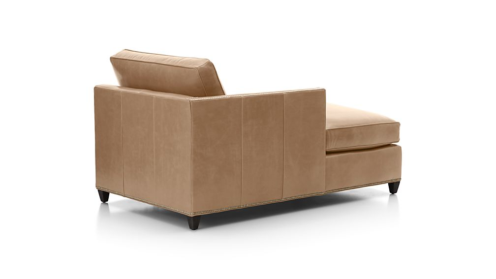 Dryden Leather Left Arm Chaise Lounge with Nailheads
