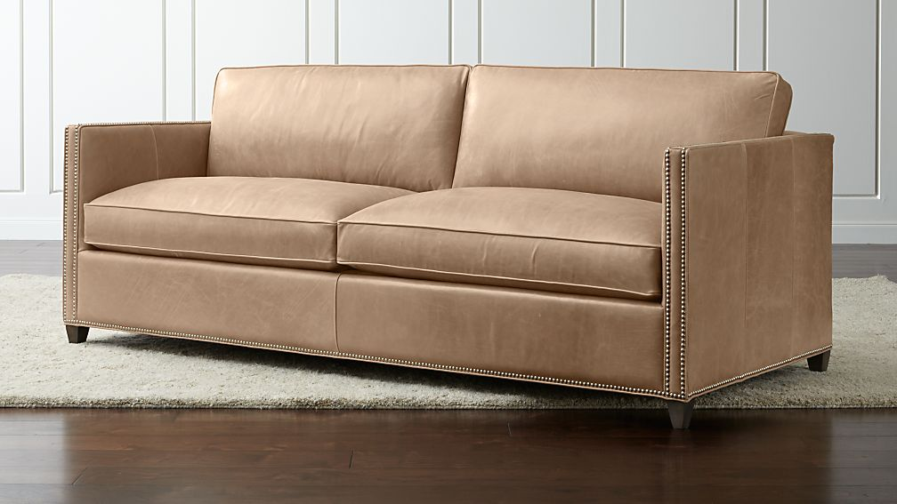 Dryden Leather Sofa with Nailheads + Reviews | Crate and Barrel