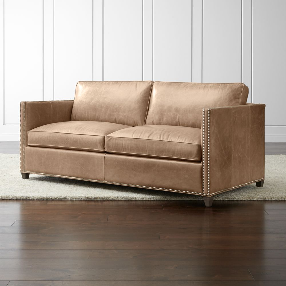 Dryden Leather Apartment Sofa with Nailheads - Crate and Barrel