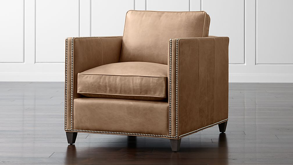 Dryden Leather Chair with Nailheads + Reviews | Crate and Barrel
