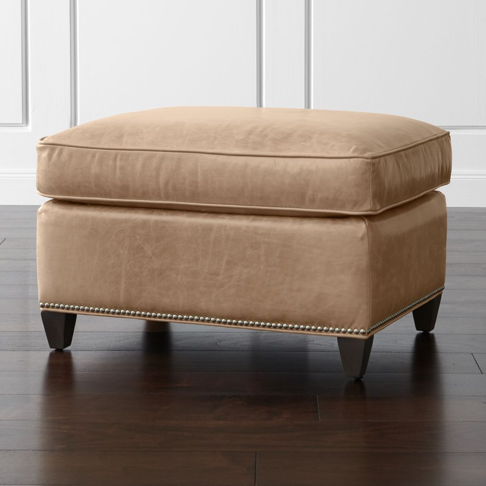 Dryden Leather Ottoman with Nailheads - Crate and Barrel