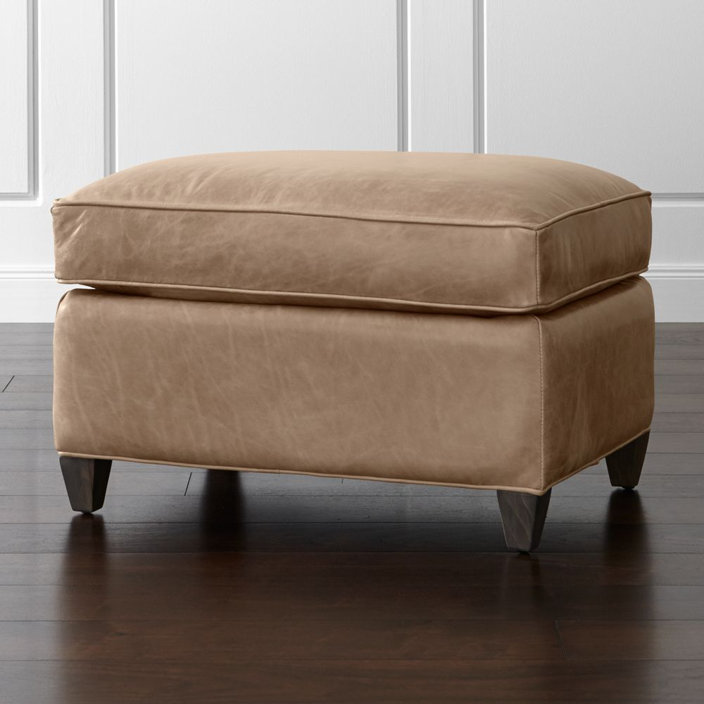 Dryden Leather Ottoman - Crate and Barrel