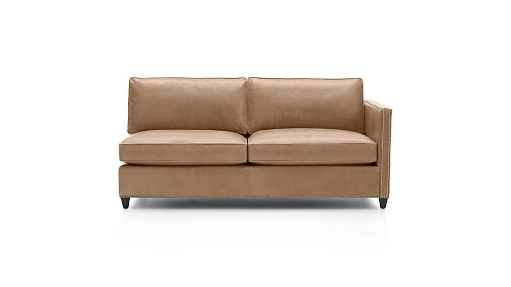 Dryden Leather Right Arm Apartment Sofa with Nailheads