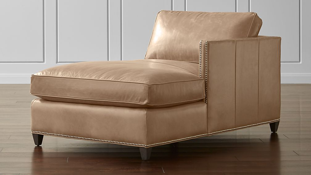 Dryden Leather Right Arm Chaise Lounge with Nailheads
