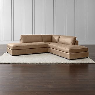 Dryden Leather 3-Piece Two Bumper Sectional with Nailheads